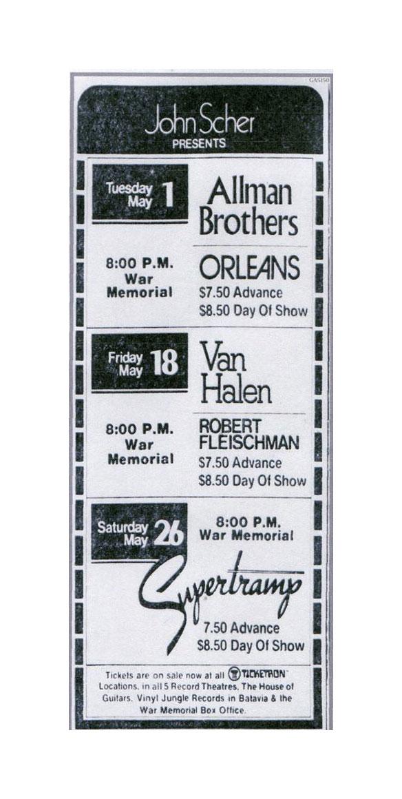 5/18/1979 Van Halen concert ad