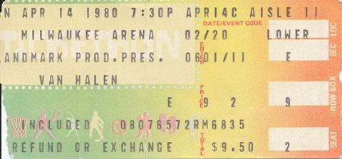 4/14/1980 Van Halen ticket
