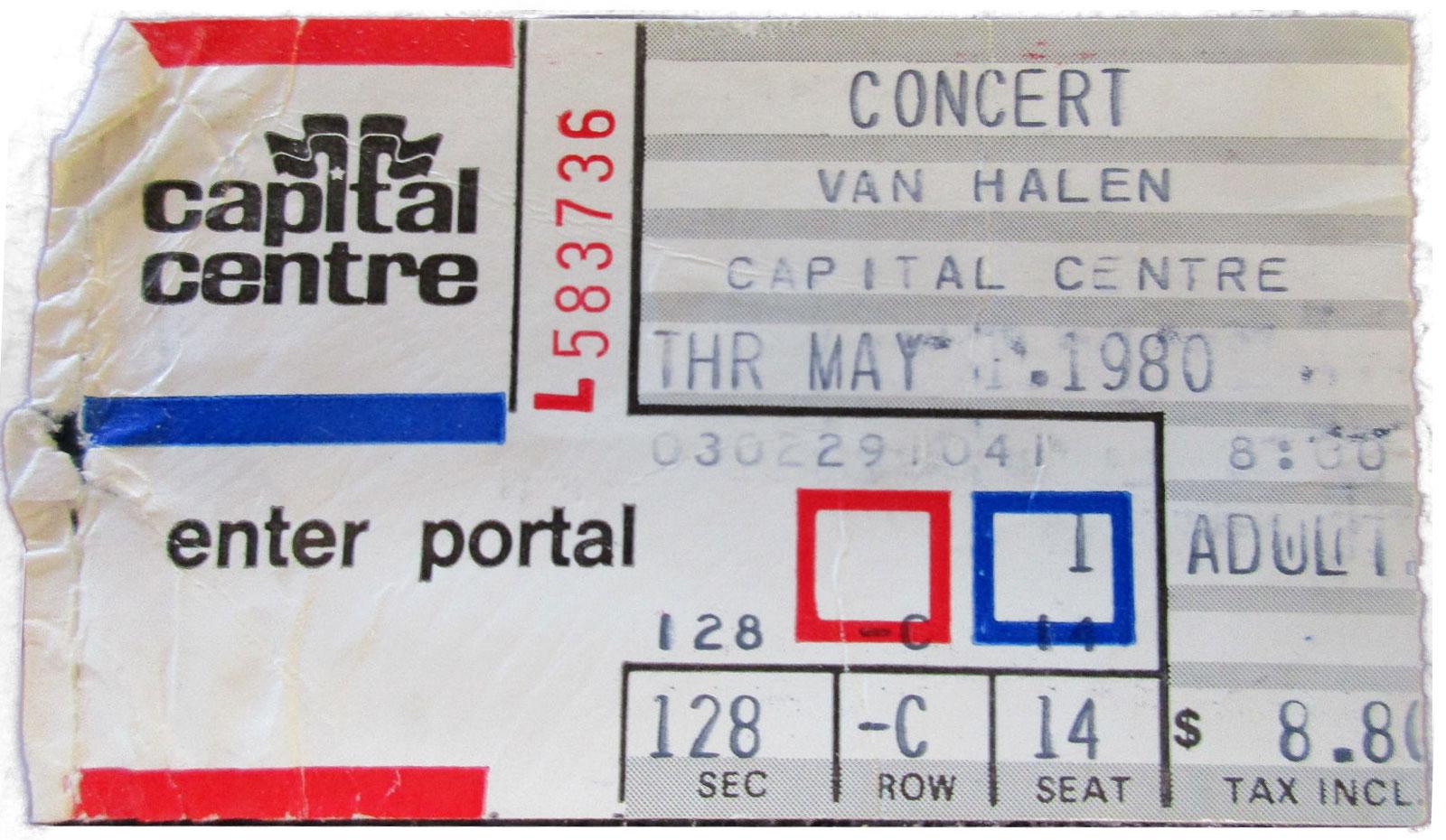 5/1/1980 Van Halen ticket