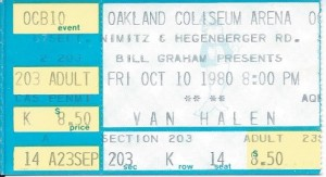 Oct 10, 1980 Ticket (Dave's Birthday)