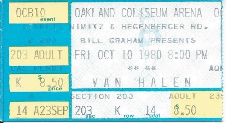 10/10/1980 Van Halen ticket