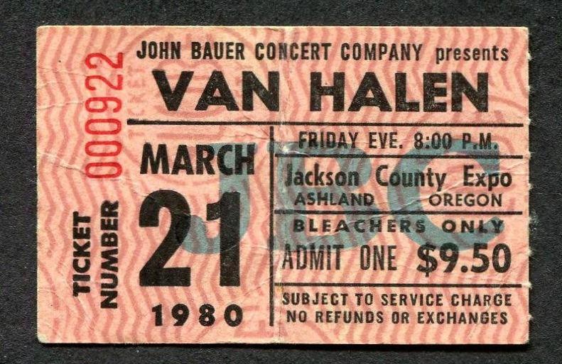 3/21/1980 Van Halen ticket