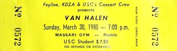 3/30/1980 Van Halen ticket