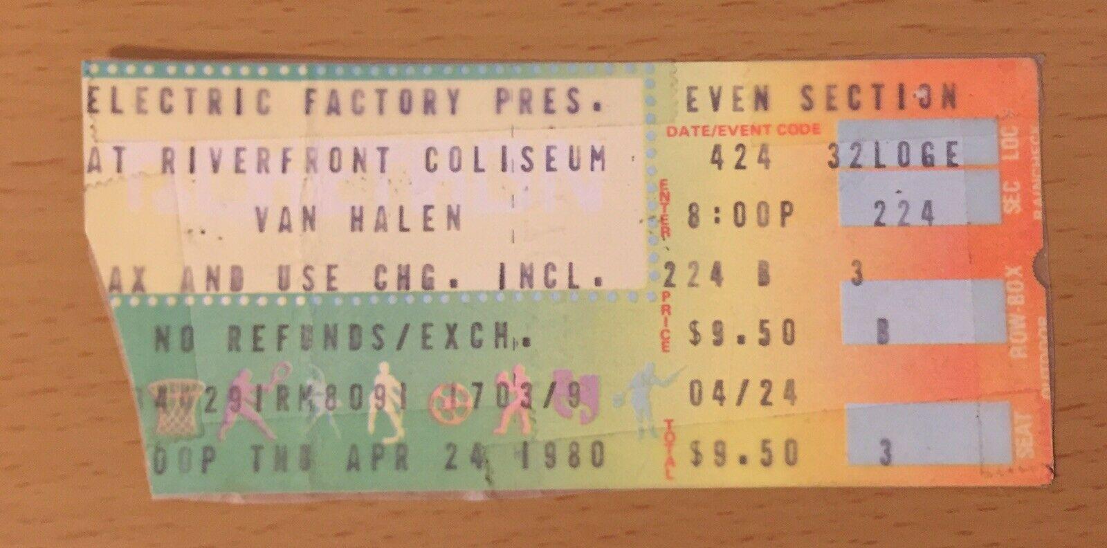 4/24/1980 Van Halen ticket