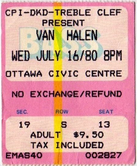 7/16/1980 Van Halen ticket