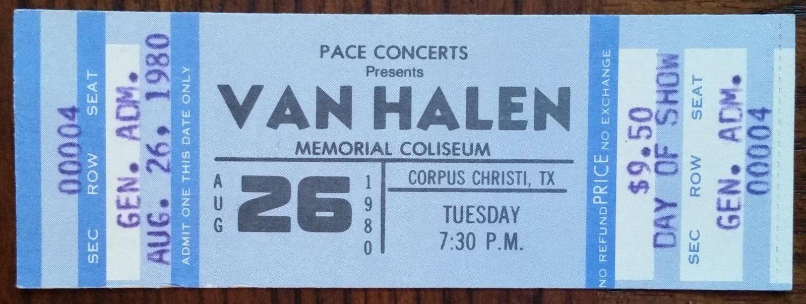 8/26/1980 Van Halen ticket