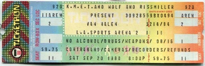 9/20/1980 Van Halen ticket