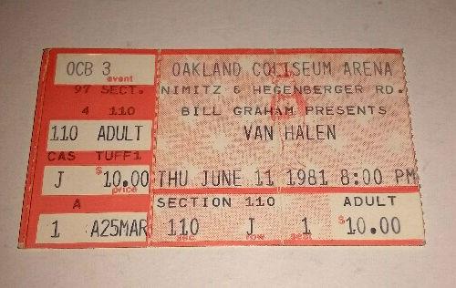 Van Halen Ticket 6/11/1981