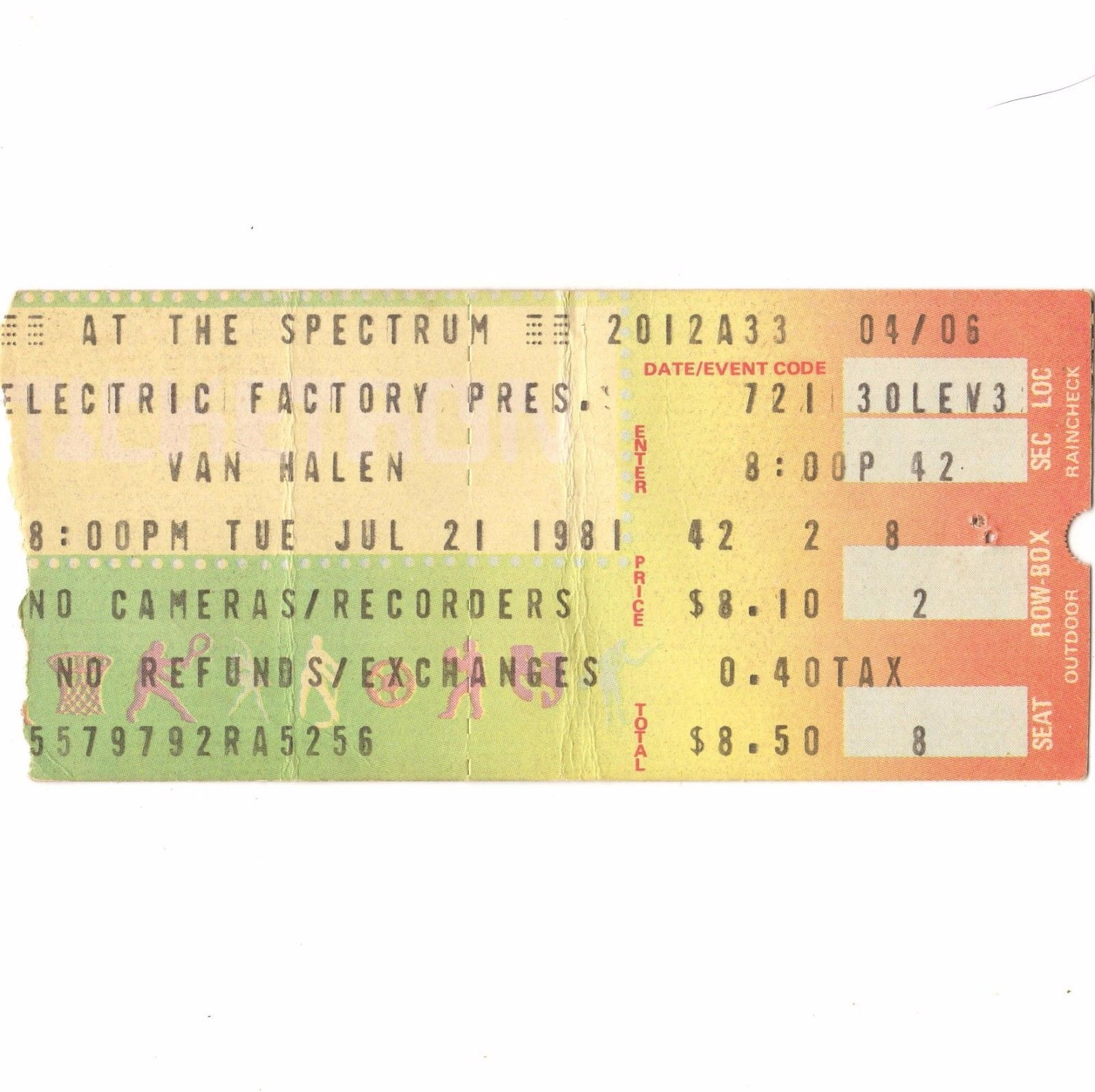 7/21/1981 Ticket - Philly Spectrum