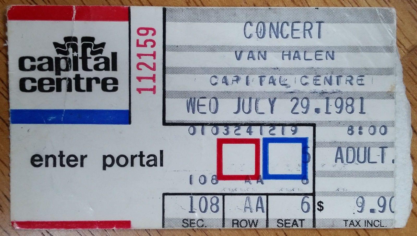 7/29/1981 Van Halen Ticket