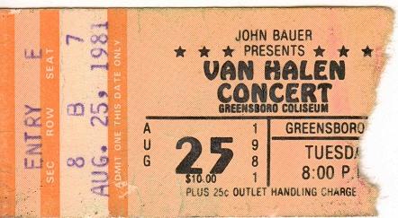 8/25/1981 Van Halen Ticket