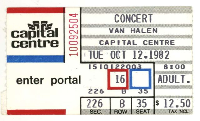 10/12/1982 Ticket Stub
