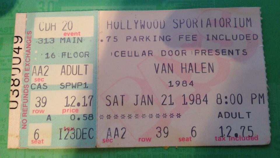 1/21/1984 Van Halen Ticket