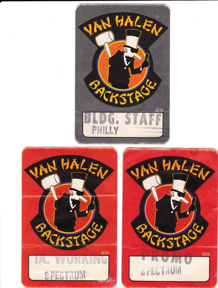 3/20/1984 Van Halen backstage passes