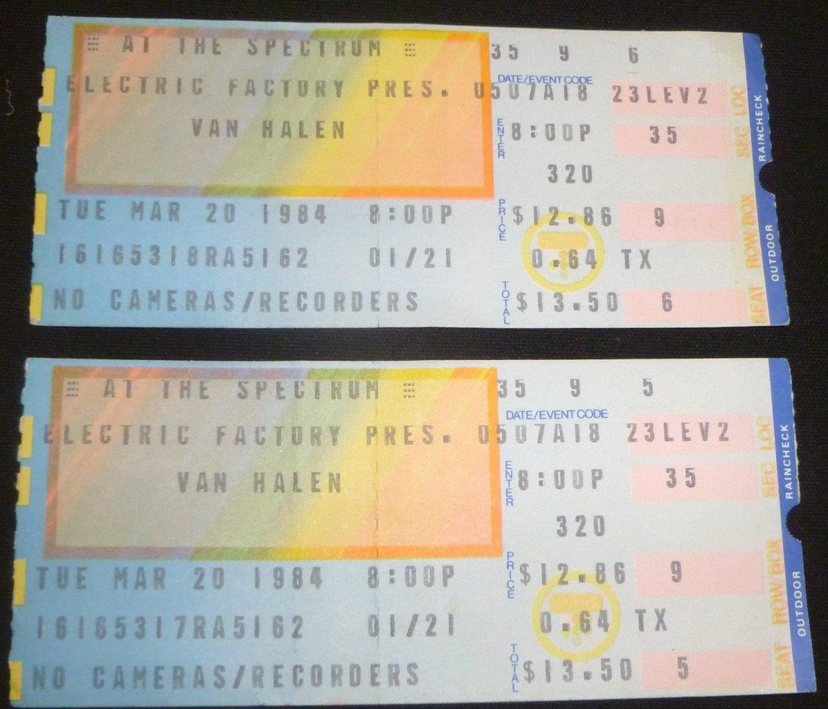 3/20/1984 Van Halen ticket - Philadelphia Spectrum