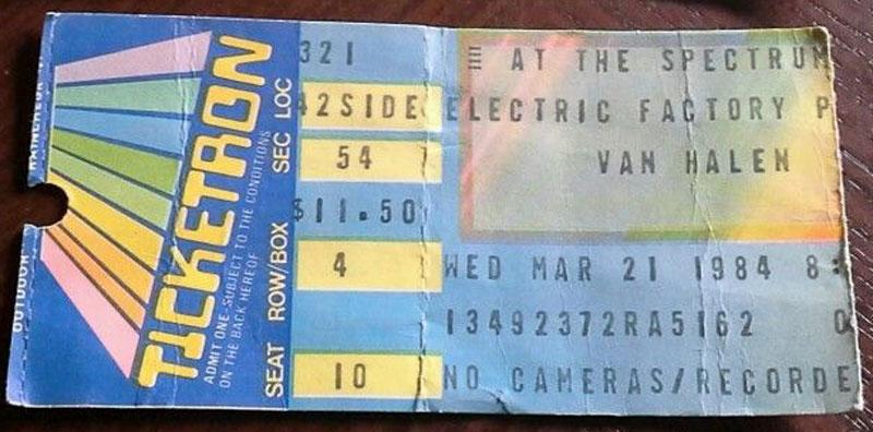 3/21/1984 Van Halen ticket - Philadelphia Spectrum