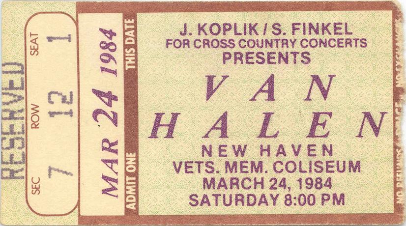 3/24/1984 Van Halen Ticket